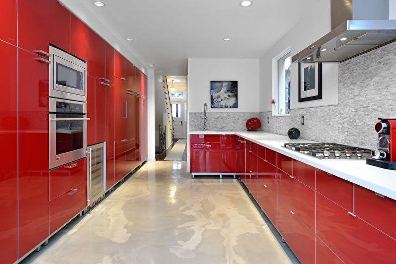 Cuisine rouge dans un style moderne - Design d'intérieur