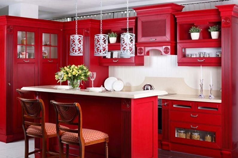 Cuisine rouge de style oriental - Design d'intérieur
