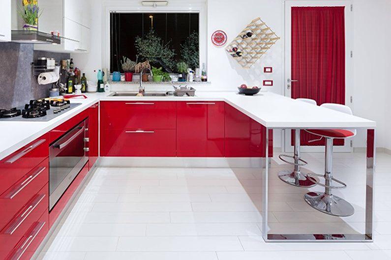 Design de cuisine dans les tons rouges - Meubles