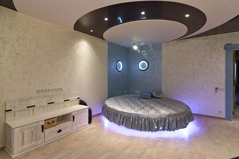 Types de lits ronds dans la chambre - Lit flottant