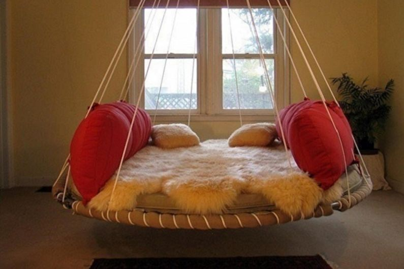 Types de lits ronds dans la chambre - Lit suspendu
