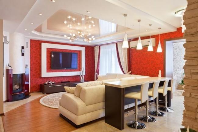 Un plafond élégant ajoutera du charme et du luxe au salon.