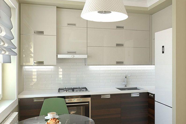 Conception de cuisine 6 m²  dans le style du minimalisme