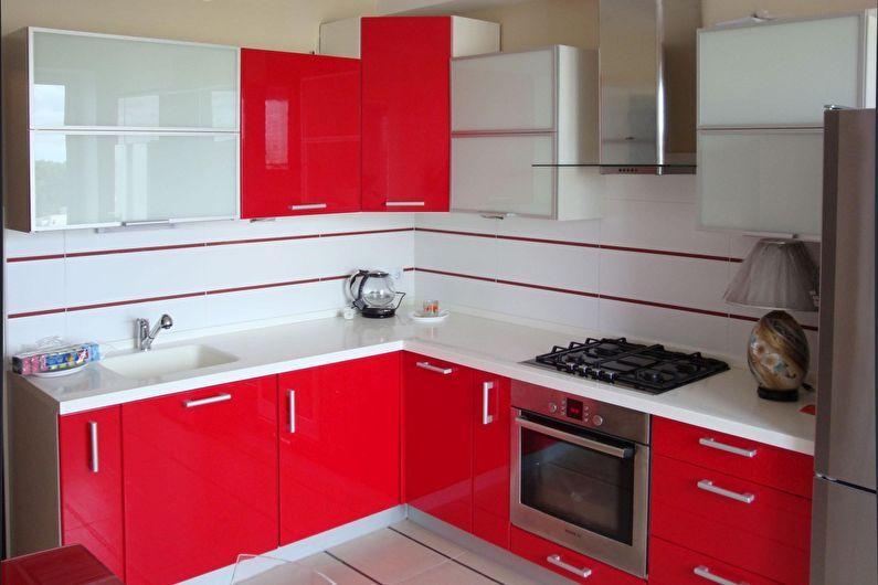 Cuisine rouge 6 m²  - Design d'intérieur