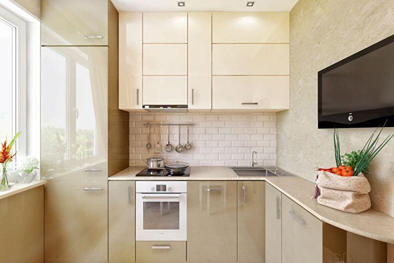 Cuisine beige 6 m²  - Design d'intérieur