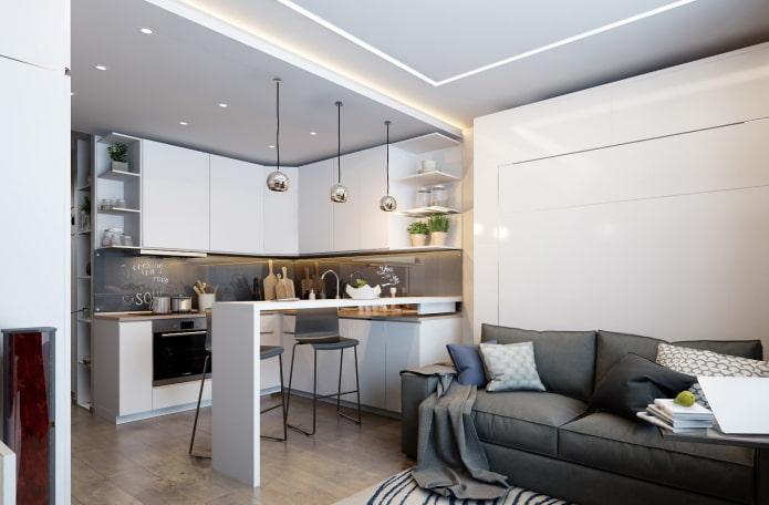 intérieur d'un studio-cuisine avec un plafond à deux niveaux