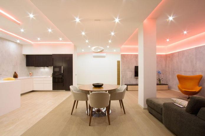 intérieur de cuisine-studio avec zonage sous forme d'éclairage