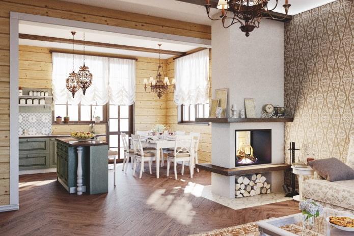 intérieur cuisine-studio avec cheminée en forme de cloison