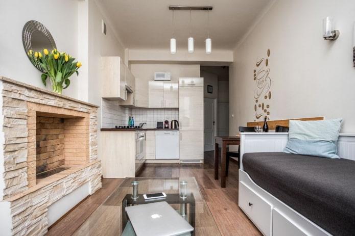 conception de cuisine de studio beige
