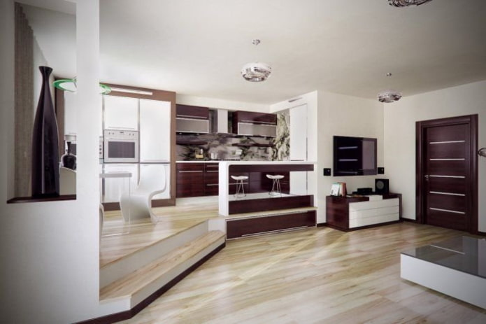 intérieur cuisine-studio avec podium