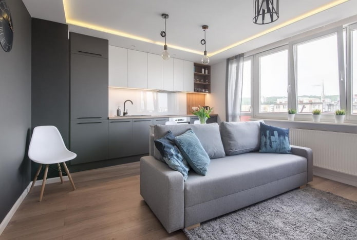intérieur d'un studio-cuisine avec une cloison en forme de canapé