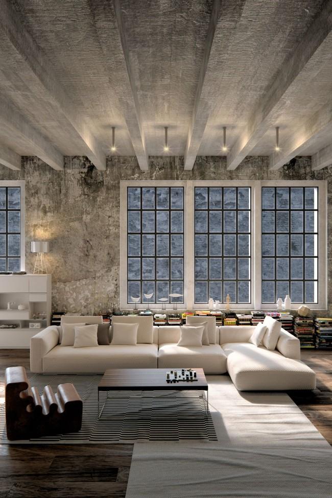 Murs et plafond en béton dans un intérieur de salon loft