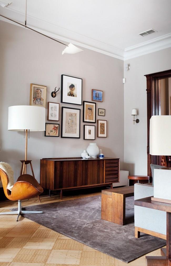 Matériaux et couleurs naturels à l'intérieur du salon