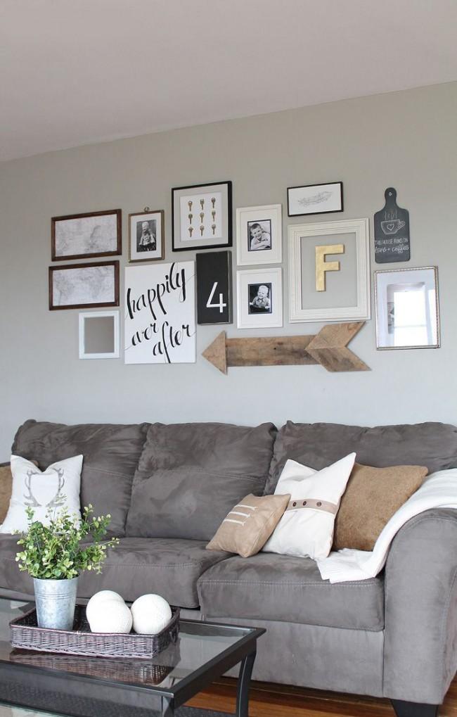 Expression de la position de vie en phrases sur le mur du salon