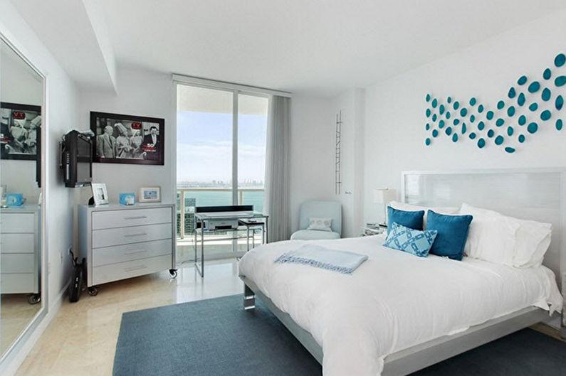 Chambre bleue dans le style du minimalisme - Design d'intérieur