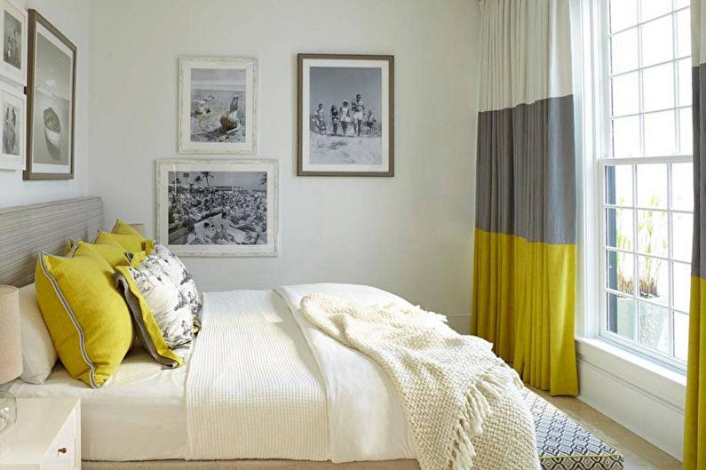 Chambre jaune dans le style du minimalisme - Design d'intérieur