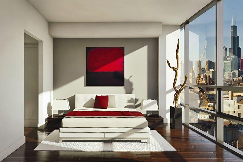 Chambre rouge dans le style du minimalisme - Design d'intérieur