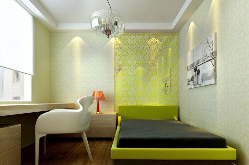 Chambre verte dans le style du minimalisme - Design d'intérieur