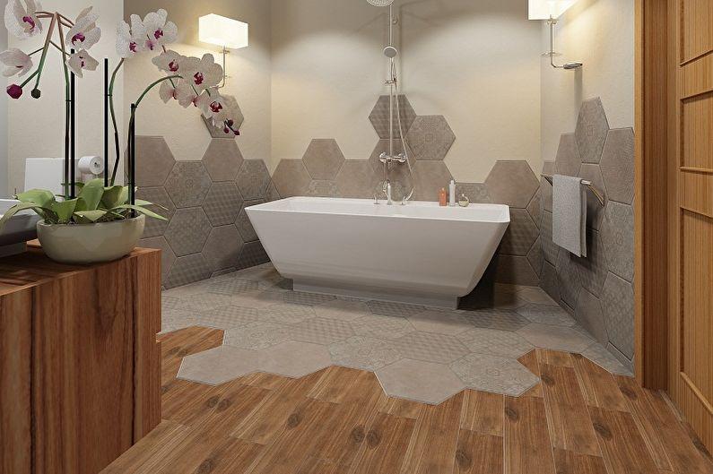 Conception de salle de bain 6 m²  - Finition du sol