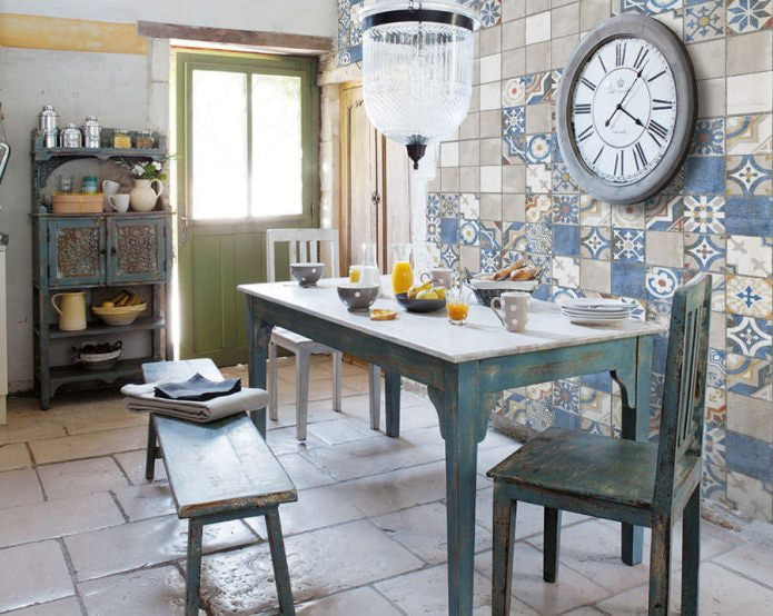 Carreaux de patchwork de cuisine de style rétro