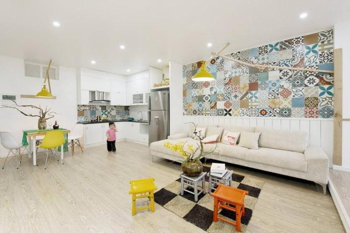 Carreaux patchwork dans le salon