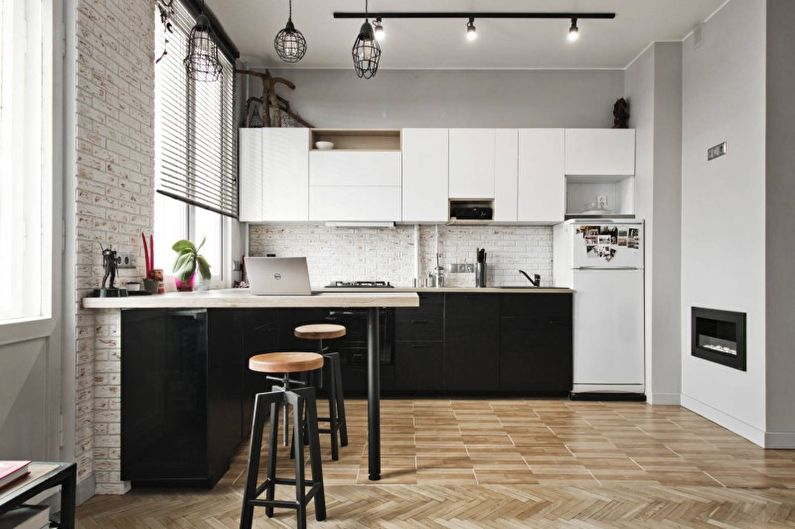 Cuisine lumineuse de style loft - Design d'intérieur