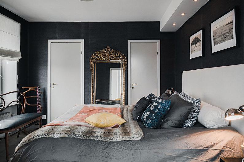 Chambre à coucher moderne noire - Design d'intérieur