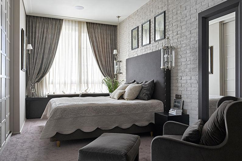 Chambre grise dans un style moderne - Design d'intérieur