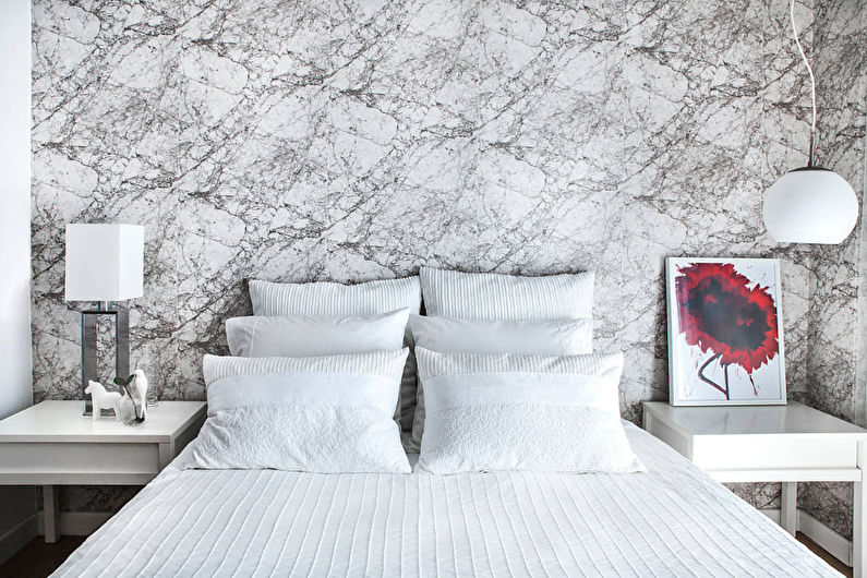 Chambre blanche dans un style moderne - Design d'intérieur