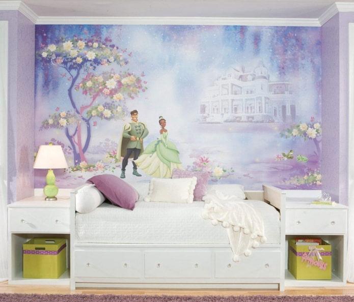 photo murale avec l'image de la princesse et du prince