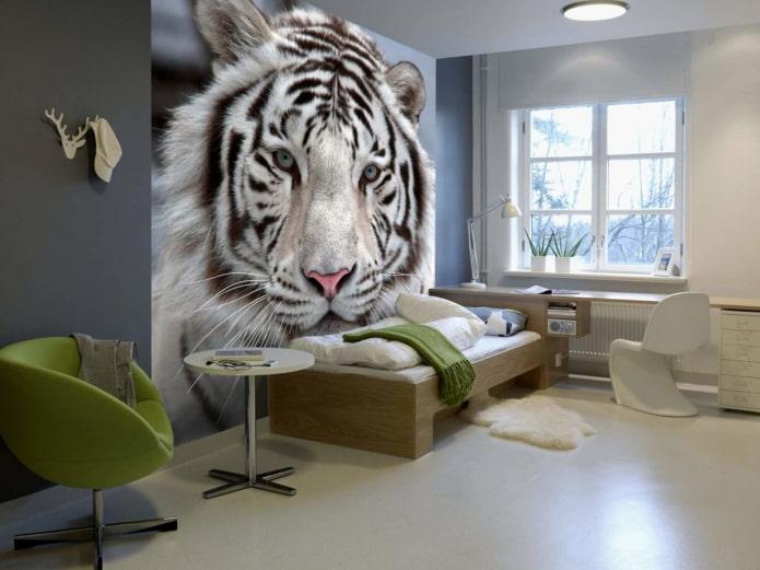 photo murale avec un tigre