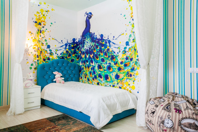 photo murale avec paon