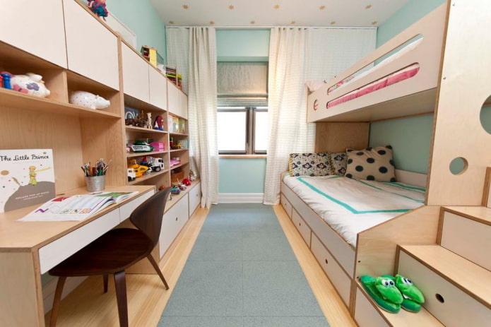 zonage et aménagement d'une chambre pour enfants de sexes différents