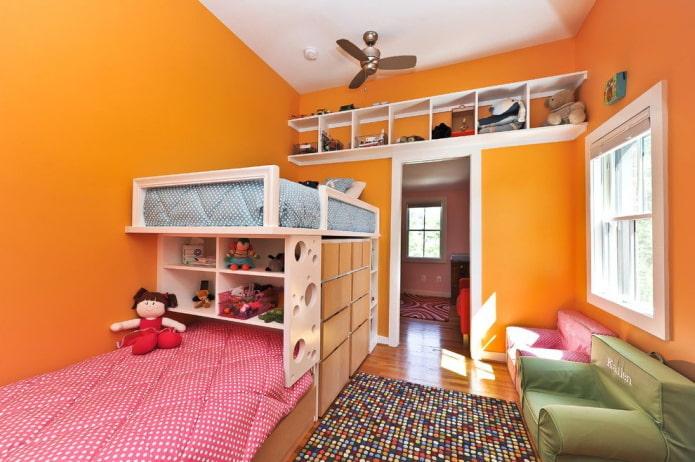 meubles à l'intérieur de la chambre pour enfants de sexes différents