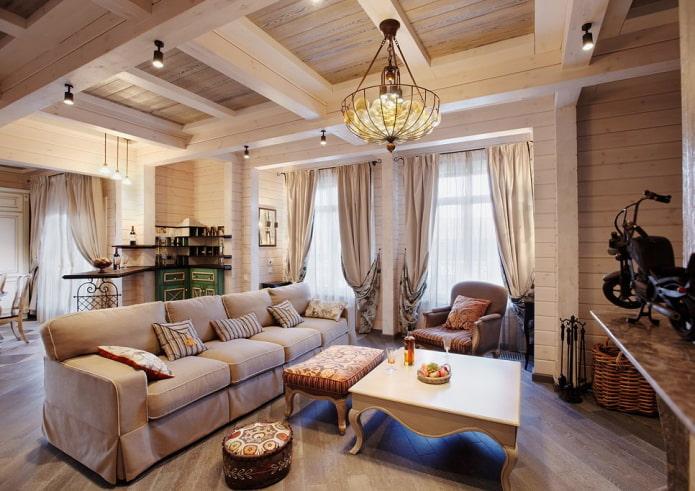 salon dans une maison en bois