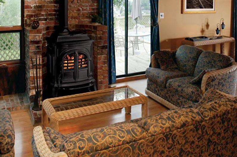 Poêle cheminée dans le salon