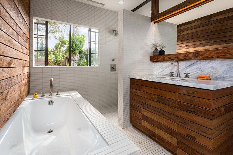 Matériaux pour décorer les murs de la salle de bain - Bois
