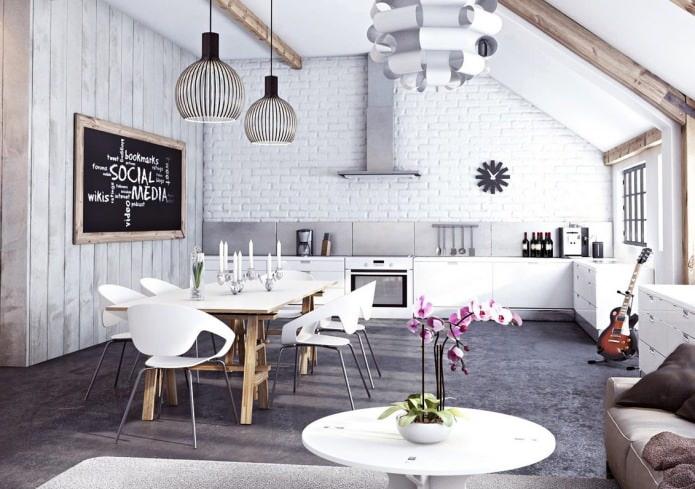 Salon avec mur de briques