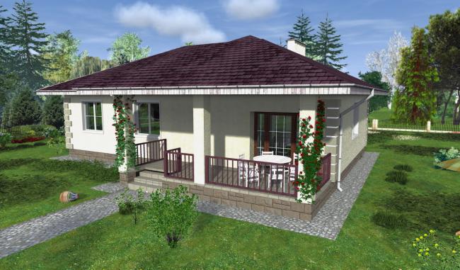 Projet d'une maison à un étage avec une véranda ouverte