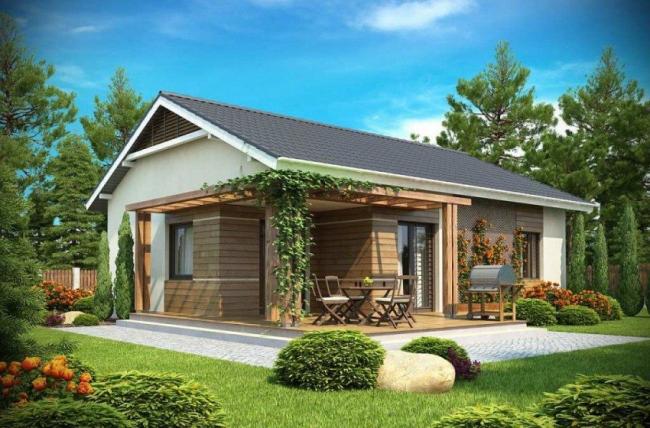Projet d'une maison de plain-pied avec toit mansardé et terrasse
