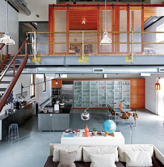 Loft avec cloison séparée pour un coin nuit privatif