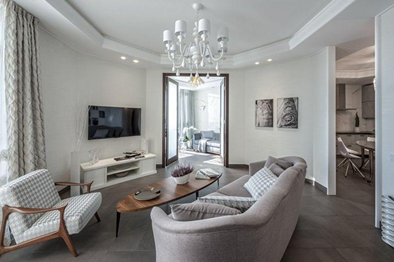Salon blanc dans un style moderne - Design d'intérieur