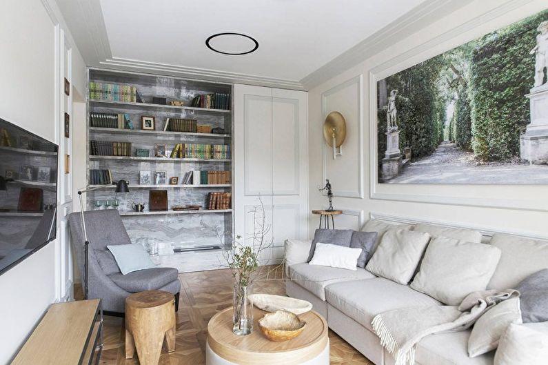 Salon blanc de style antique - Design d'intérieur