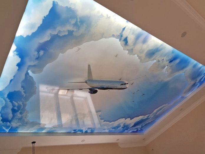 plafond avec ciel et avion