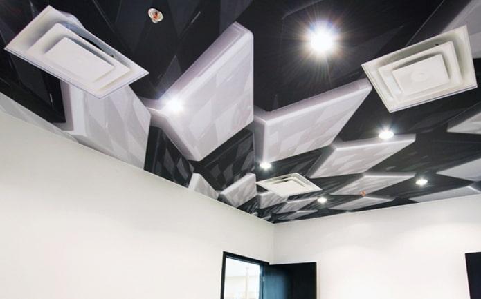 plafond avec l'image d'objets géométriques volumétriques