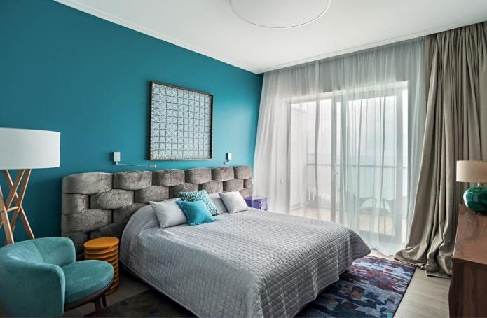 intérieur de chambre gris-turquoise