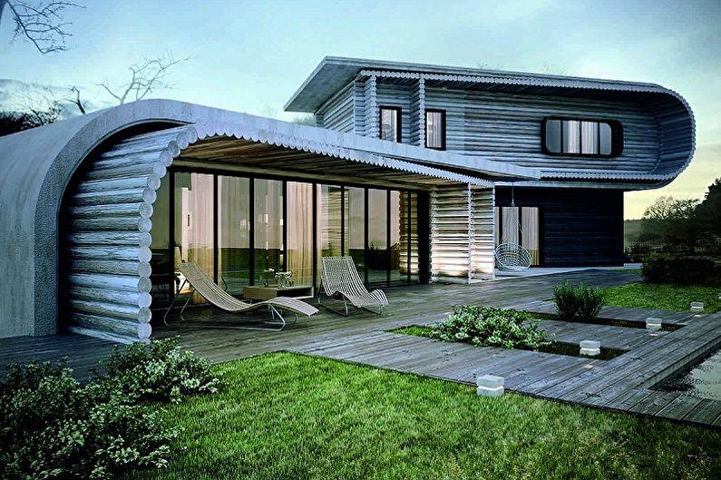 Projets modernes de maisons en rondins - Maison en rondins arrondis dans un style moderne