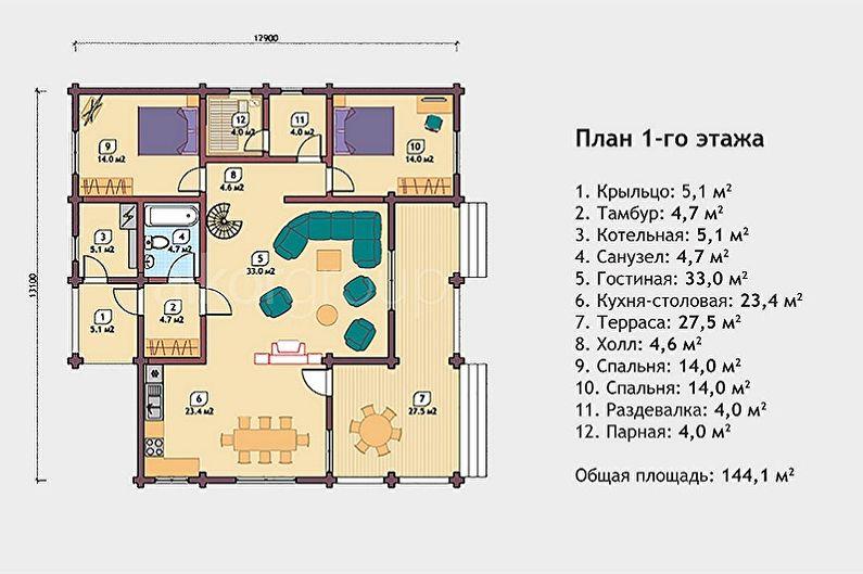 Projets modernes de maisons en rondins - Pavillon de chasse en rondins de rondins