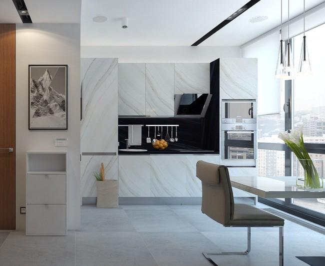 Chic moderne : un très grand motif sur les façades des armoires, répétant les veines naturelles, les superpositions et les taches de pierre naturelle