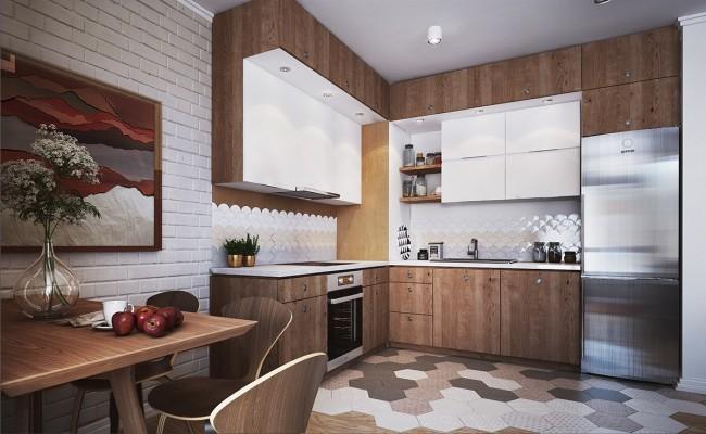 Projet de design avec un ensemble d'armoires en forme de L avec un motif en bois, accentué par la pureté du blanc.  Faites attention à la mezzanine - c'est l'option la plus populaire et la plus peu encombrante maintenant